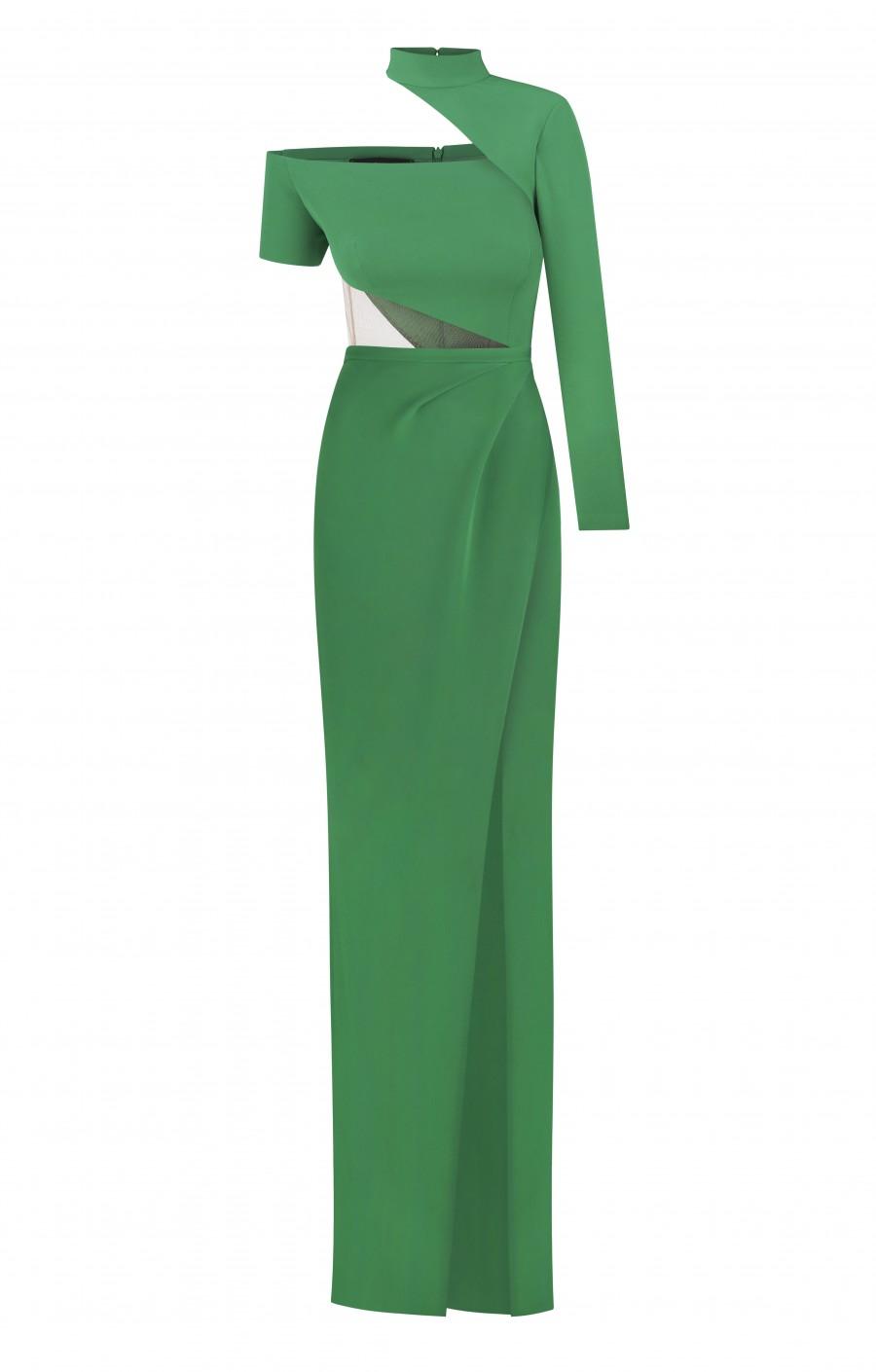 Зелёное платье из крепа