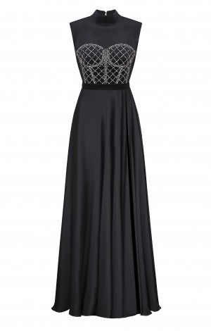 Чёрное платье из шифона с расшитым корсетом