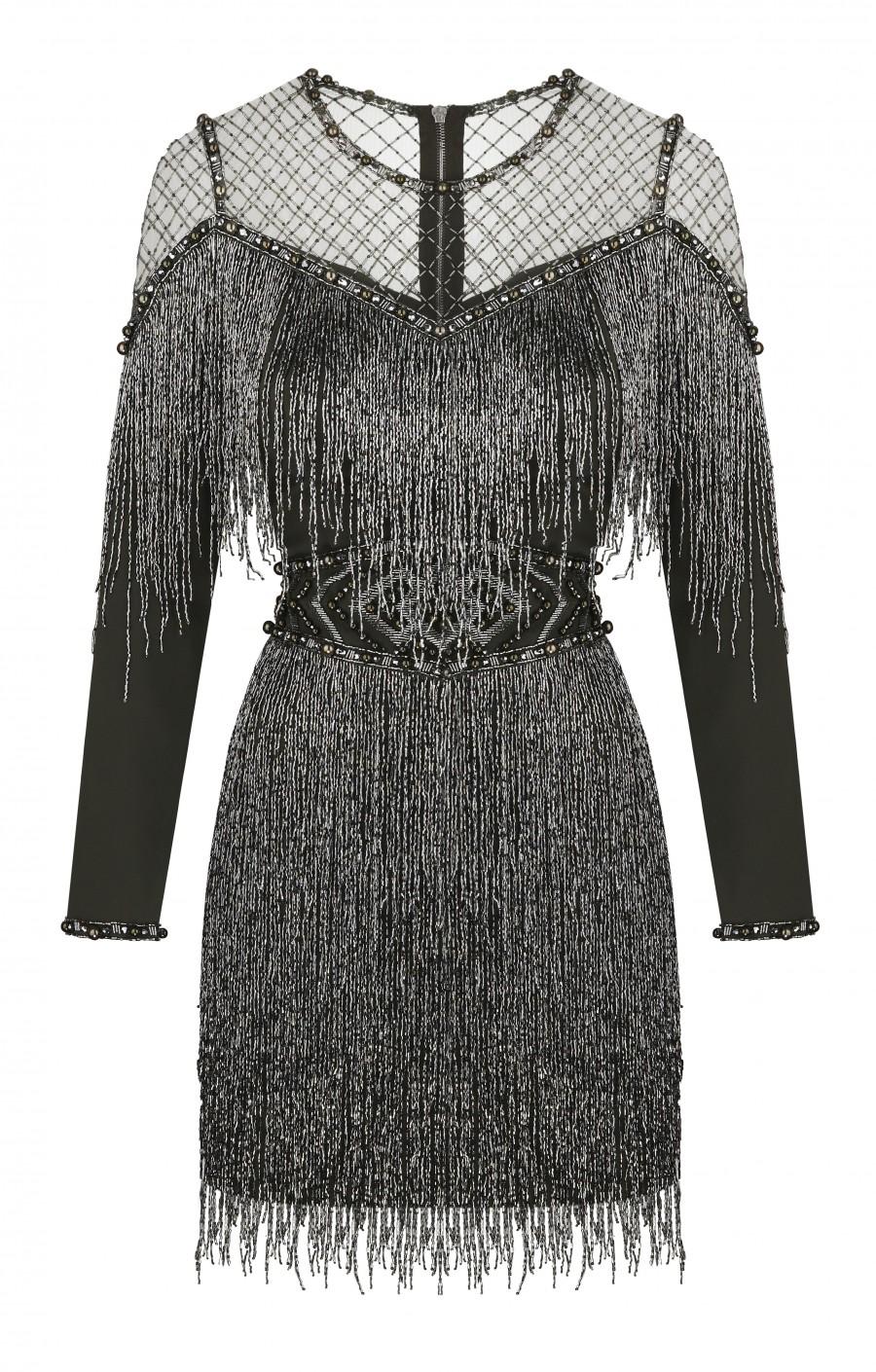 Хаки платье  с бахромой расшитое вручную